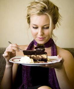 девушка с тортом - калорийность продуктов