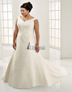 свадебное платье для полненьких с неглубоким декольте