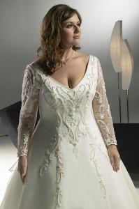 свадебные платья для полных с рукавами
