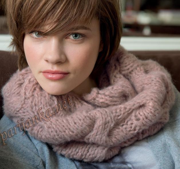 Вязать спицами шарф труба схема и фото.