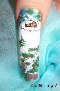 новогодний рисунок на ногтях фото