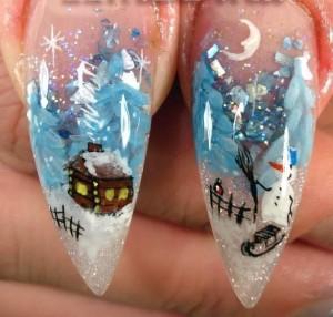 новогодние рисунки на ногтях акрил