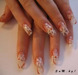 новогодний рисунок на ногтях снежинка фото