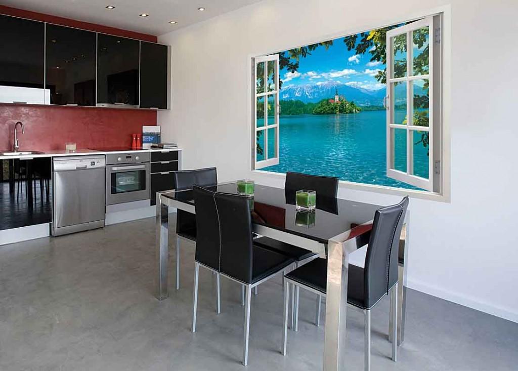 фотообои в интерьере кухни иллюзия