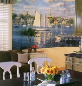 природные фотообои в интерьере кухни