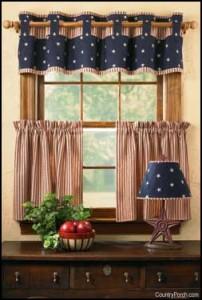 шторы на кухню кантри фото