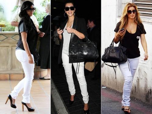 ким кардашиан в белых джинсах