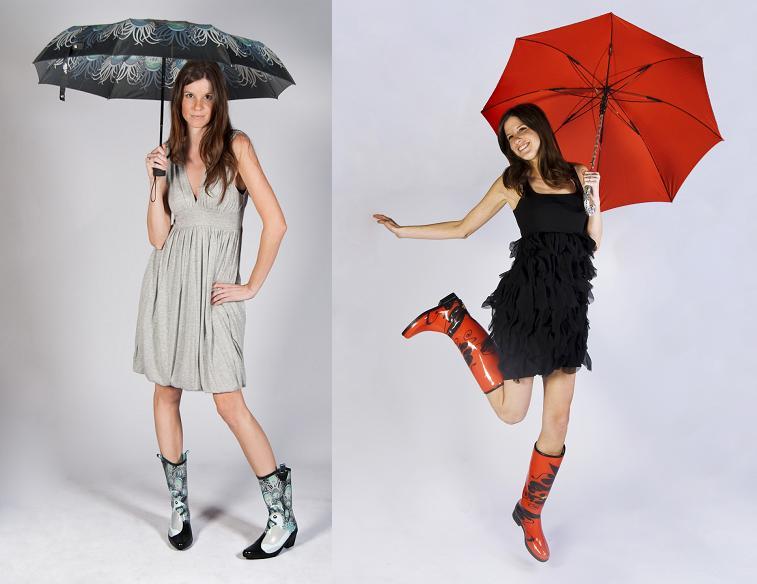 Платье и резиновые сапоги