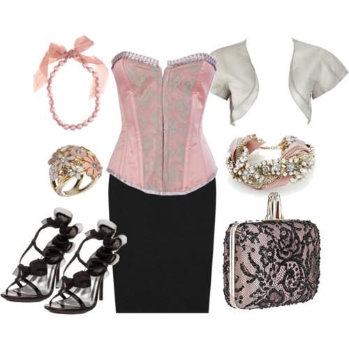 юбка-карандаш с розовым корсетом фото