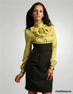 юбка-карандаш с завышенной талией и блузой фото