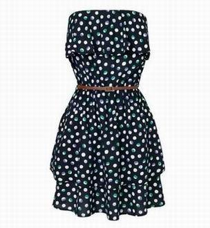 короткое платье-бандо в горошек