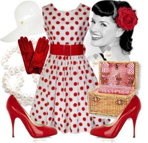 белое платье в красный горошек