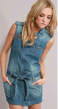 джинсовый сарафан с поясом