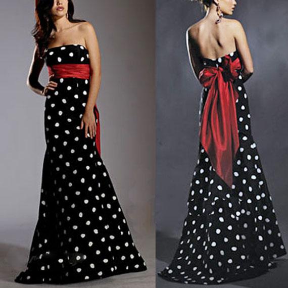 вечернее черное платье в белый горошек