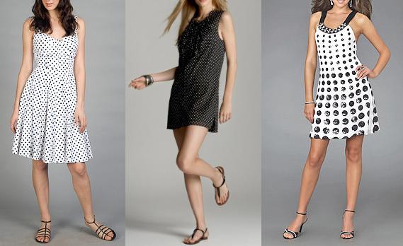 летние модные платья в горошек