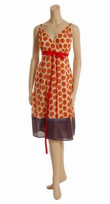 шифоновое платье в красный горошек
