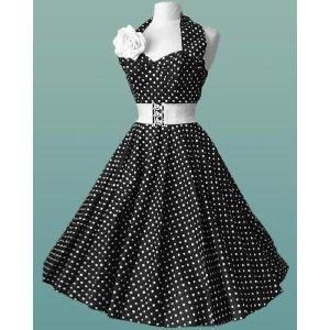черное платье в белый горошек ретро
