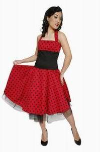 красное летнее платье в черный горошек