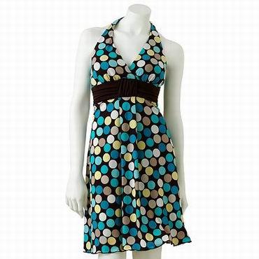 короткое платье в цветной горошек