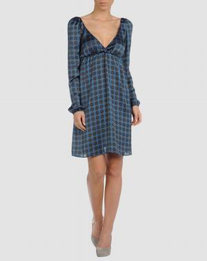 вечернее синее платье в горошек