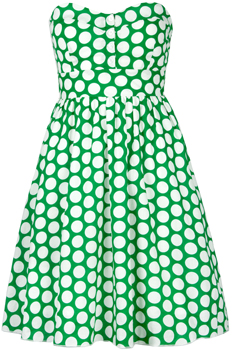 зеленое платье-бандо в крупный белый горошек