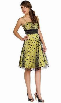 вечернее желтое платье в горошек