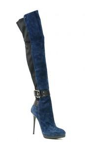 синие сапоги на шпильке осень-зима 2011-2012