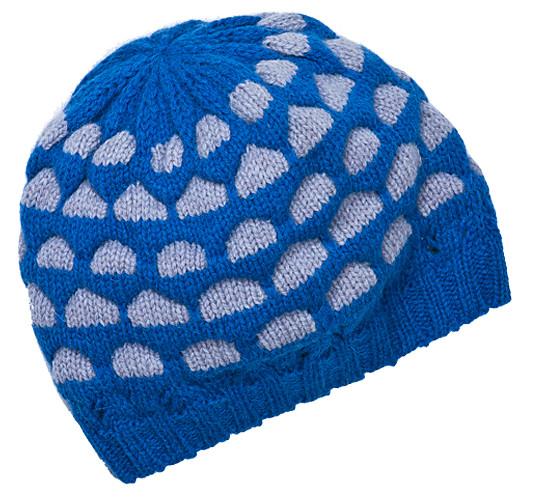 модная синяя шапка с принтом 2011-2012