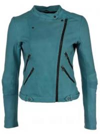 голубая кожаная куртка 2013 с косой молнией
