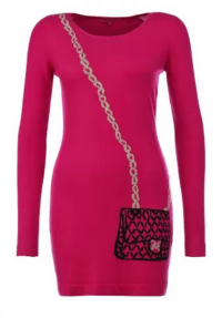 вязаное платье цвета фуксия
