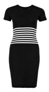 черное платье с горизонтальной полоской