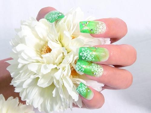 стемпинг дизайн на длинных ногтях