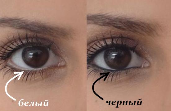 белый и черный карандаш для глаз - сравнение