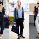С чем сочетать женские широкие спортивные штаны?